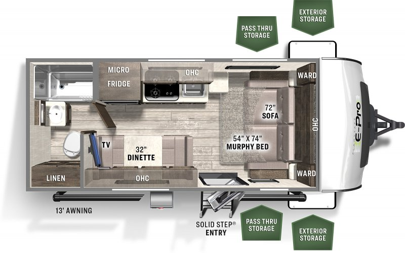 2021 FOREST RIVER FLAGSTAFF EPRO 19FD Floorplan