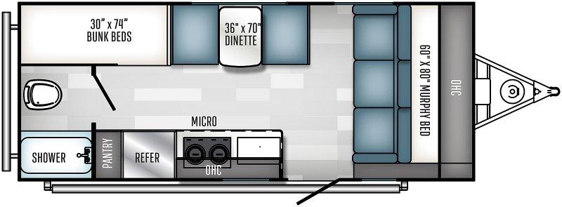 2021 PALOMINO Real Lite Mini RL188 - BUNKS Floorplan
