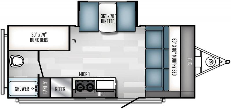 2022 PALOMINO Real Lite Mini 189BH - BUNKS Floorplan
