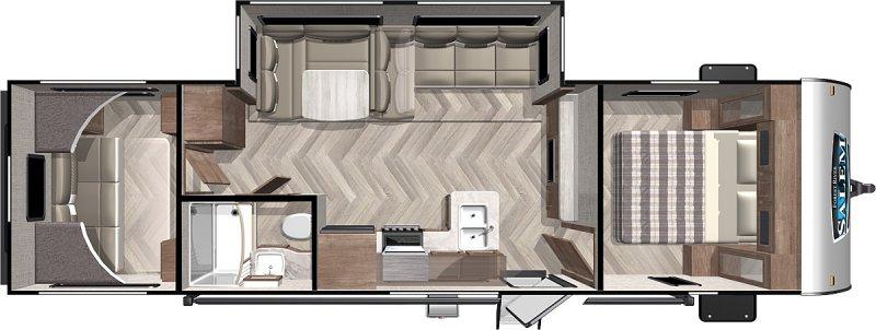 2022 FOREST RIVER Salem Wild 28VB Bunk Room Floorplan
