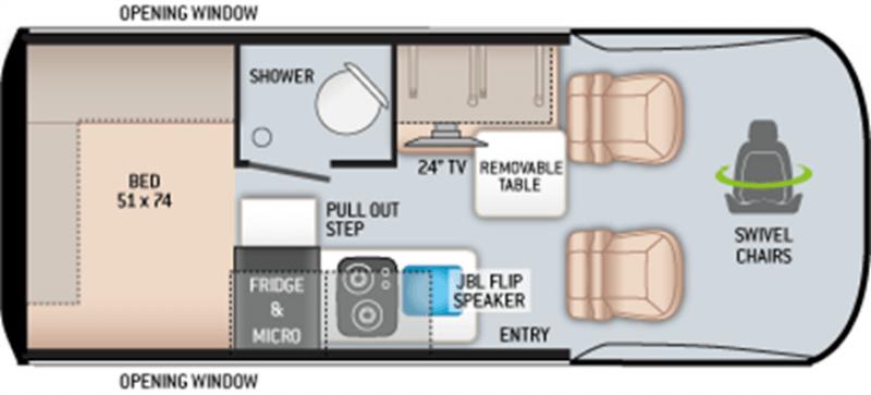 2022 THOR MOTOR COACH Sanctuary 4x4 19LD MBS Floorplan
