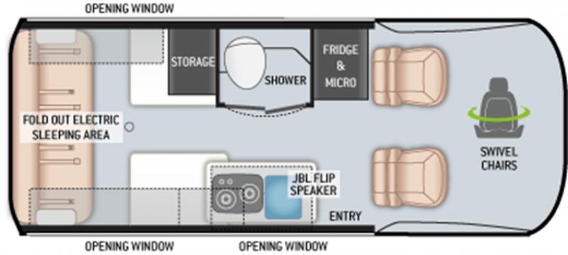 2022 THOR MOTOR COACH Sanctuary 4x4 19P MBS Floorplan