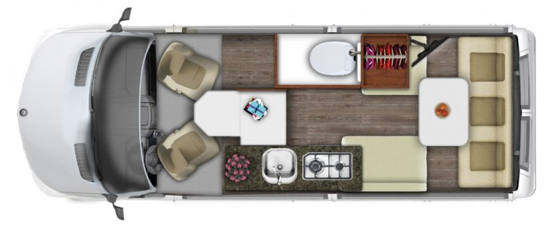 2021 ROADTREK SS AGILE 4x4 Mercedes Benz Sprinter Floorplan