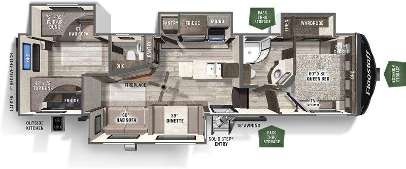 2022 FOREST RIVER Flagstaff 29 RBS - 2 Bedroom Floorplan