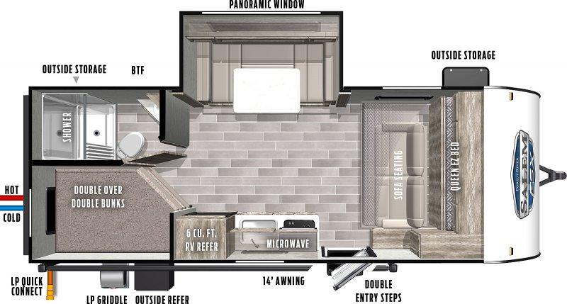 2022 FOREST RIVER Salem Wild 178BH - BUNKS Floorplan