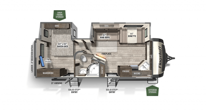 2020 FOREST RIVER FLAGSTAFF Super Lite FS26FKBS Floorplan