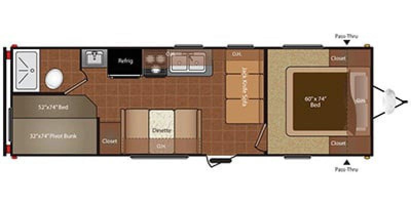 2014 KEYSTONE HIDEOUT 260LHS Floorplan