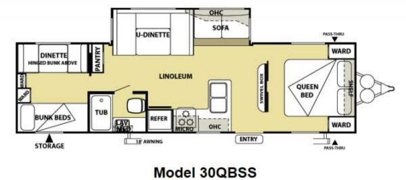 2013 FOREST RIVER SALEM 30QBSS Floorplan