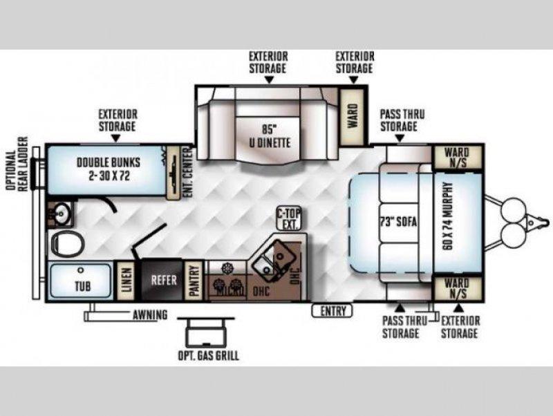 2014 FLAGSTAFF MICROLITE 25BHS Floorplan