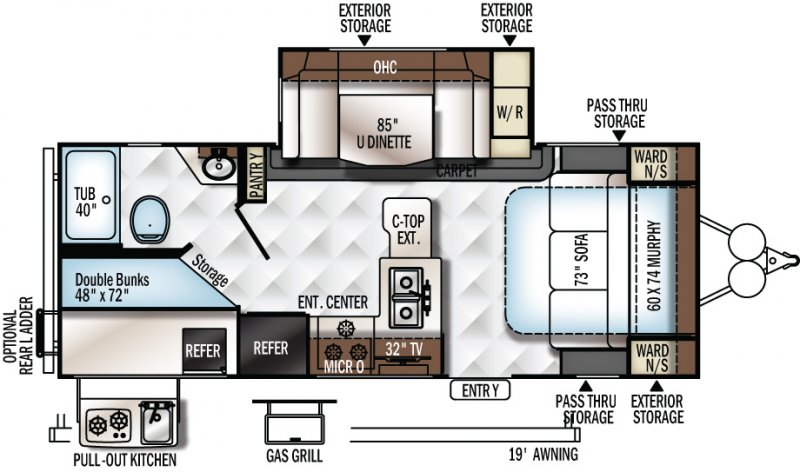 2020 FOREST RIVER FLAGSTAFF 25BRDS Floorplan