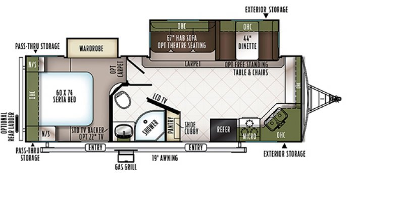 2020 FOREST RIVER FLAGSTAFF 26FKBS Floorplan