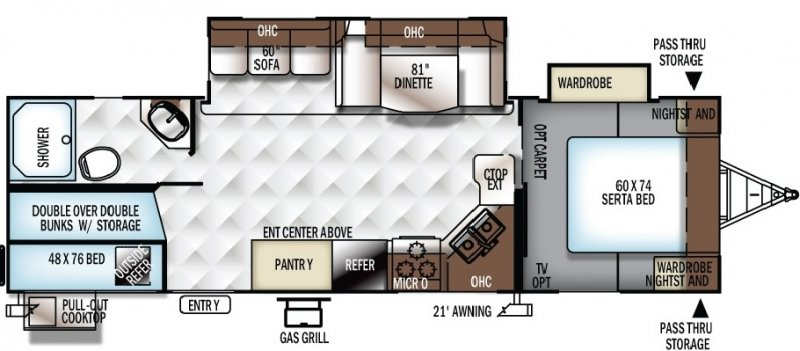 2020 FOREST RIVER FLAGSTAFF Super Lite 27BHWS Floorplan