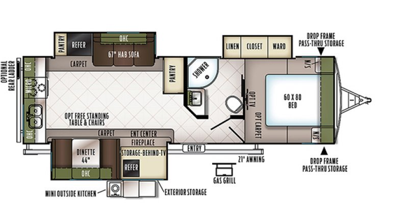 2019 FOREST RIVER FLAGSTAFF 27RKWS Floorplan