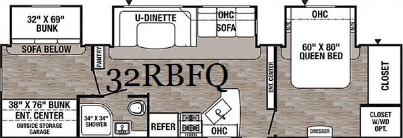 2019 PALOMINO PUMA 32RBFQ Floorplan