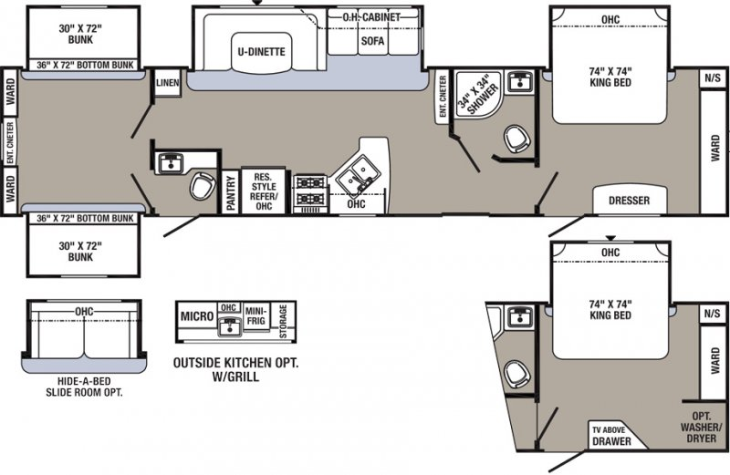 2020 FOREST RIVER PUMA PA39PQB Floorplan