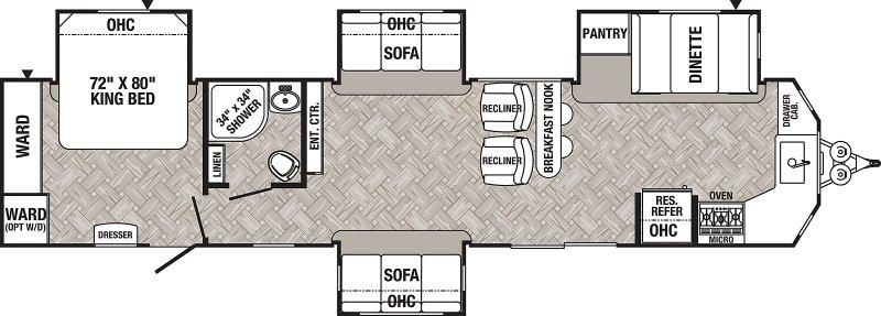 2021 FOREST RIVER PUMA PA39FKL Floorplan