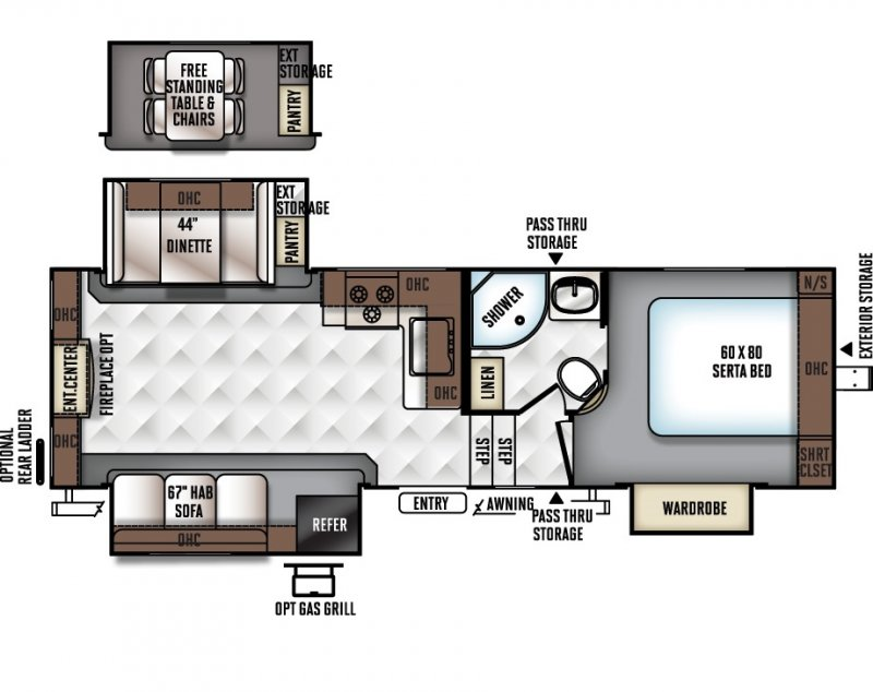 2019 FOREST RIVER FLAGSTAFF Super Lite FS526RLWS Floorplan