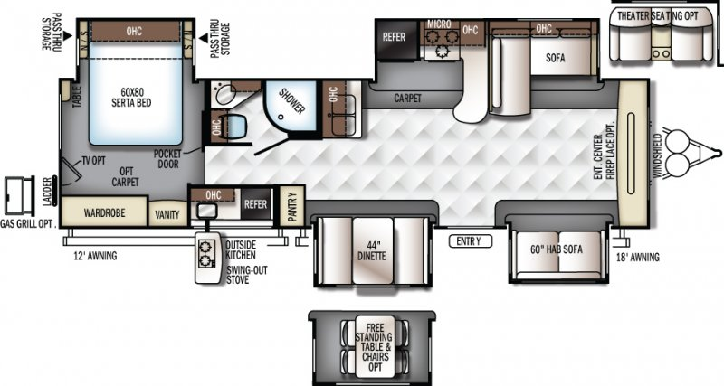 2018 FOREST RIVER FLAGSTAFF Classic Super Lite 832FLBS Floorplan