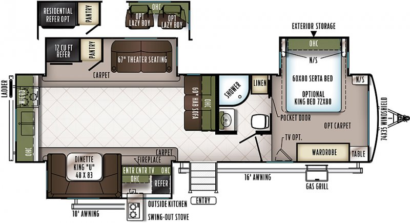 2018 FOREST RIVER FLAGSTAFF Classic Super Lite 832RKBS Floorplan