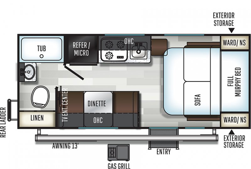 2018 FOREST RIVER E-PRO 19FD Floorplan