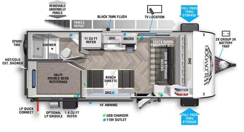 2021 FOREST RIVER WILDWOOD FSX 179DBK Floorplan