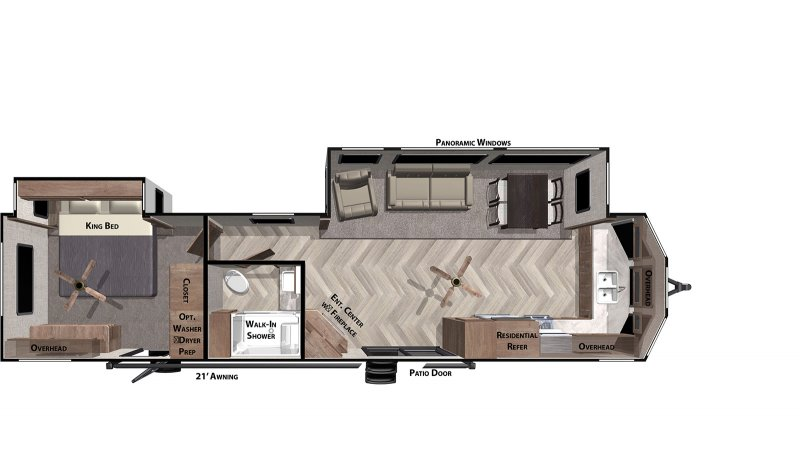2020 FOREST RIVER Wildwood Lodge 394FKDS Floorplan