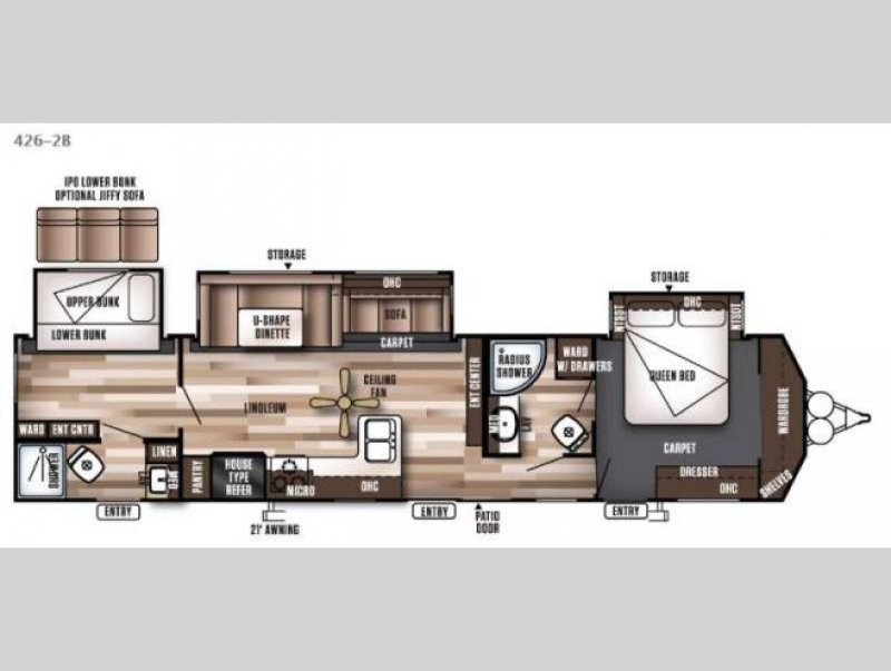 2020 FOREST RIVER Wildwood DLX 426-2BLTD Floorplan