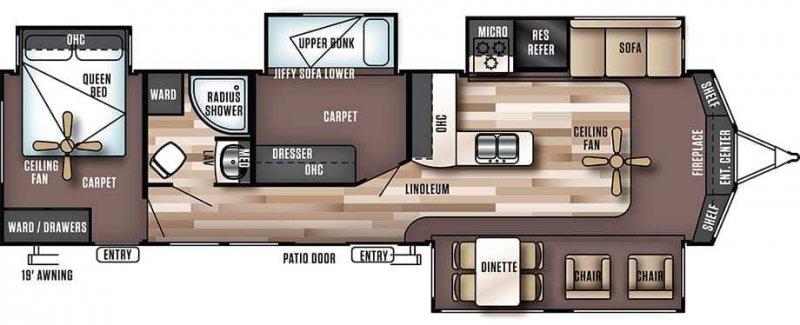 2018 FOREST RIVER Wildwood Lodge 385FLBH Floorplan