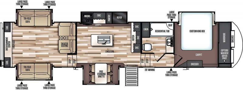 2019 FOREST RIVER Wildwood Heritage Glen LTZ 372RD Floorplan