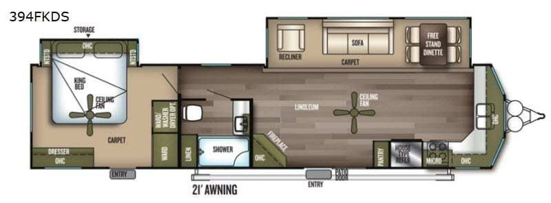 2019 FOREST RIVER Wildwood Lodge 394FKDS Floorplan