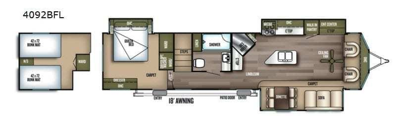 2019 FOREST RIVER Wildwood Lodge 4092BFL Floorplan