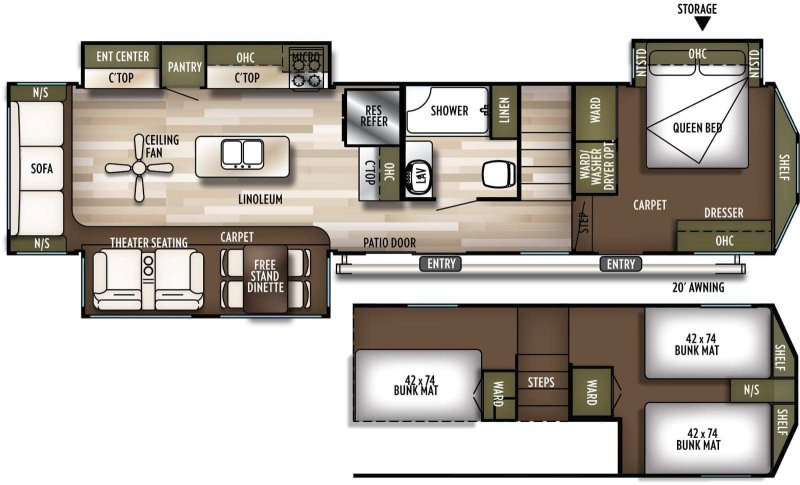 2019 FOREST RIVER Wildwood Grand Lodge 42DL Floorplan