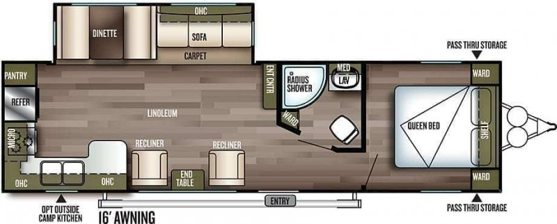 2019 FOREST RIVER Wildwood 27RKSS Floorplan