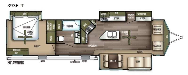 2019 FOREST RIVER Wildwood Lodge 393FLT Floorplan