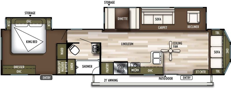 2019 FOREST RIVER Wildwood DLX 40FDEN Floorplan