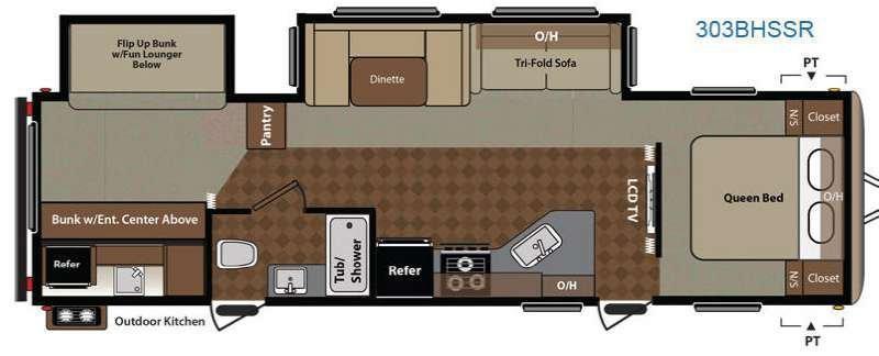 2014 KEYSTONE Springdale 303BHSSR Floorplan