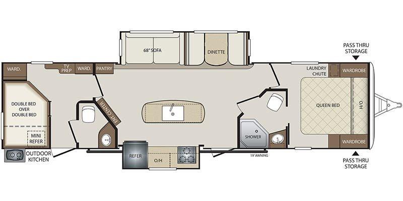 2018 KEYSTONE RV Bullet 330BHS Floorplan