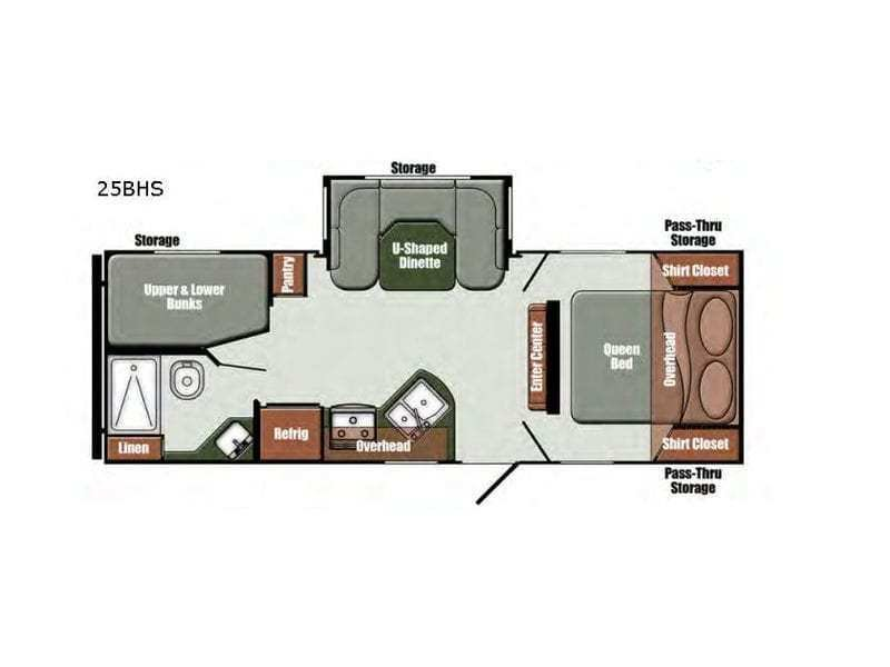 2019 GULFSTREAM Streamlite Shooter 25BHS Floorplan