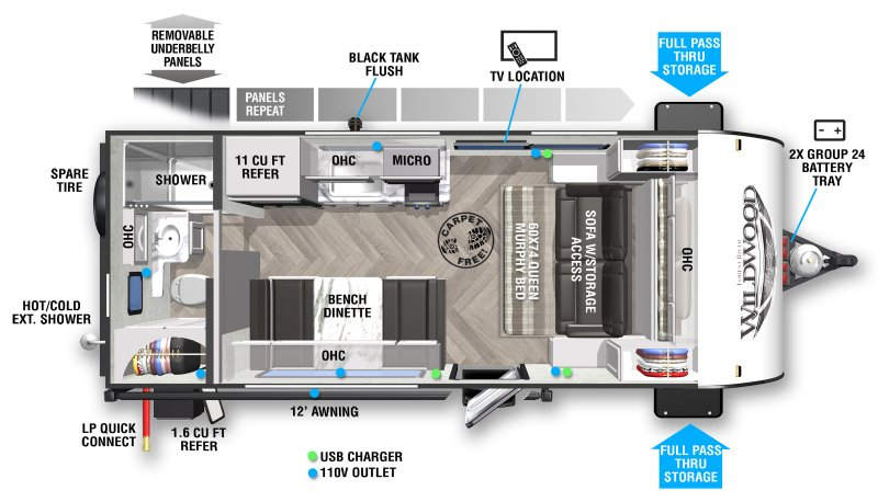 2021 FOREST RIVER WILDWOOD FSX 167RBK Floorplan