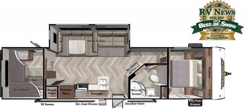 2020 FOREST RIVER Wildwood 29VBUD Floorplan