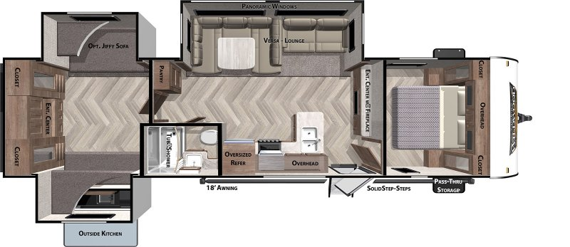2020 FOREST RIVER Wildwood 31KQBTS Floorplan