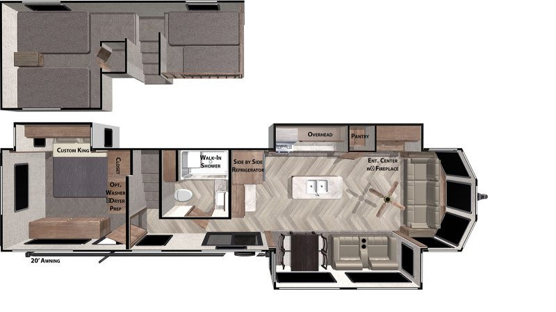 2020 FOREST RIVER Wildwood Grand Lodge 42FLDL Floorplan