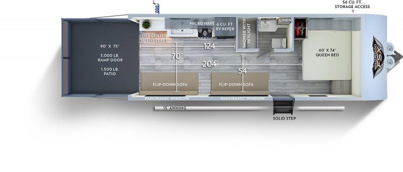 2020 FOREST RIVER Wildwood FSX 190RT Floorplan
