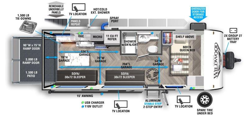 2021 FOREST RIVER WILDWOOD FSX 190RT Floorplan