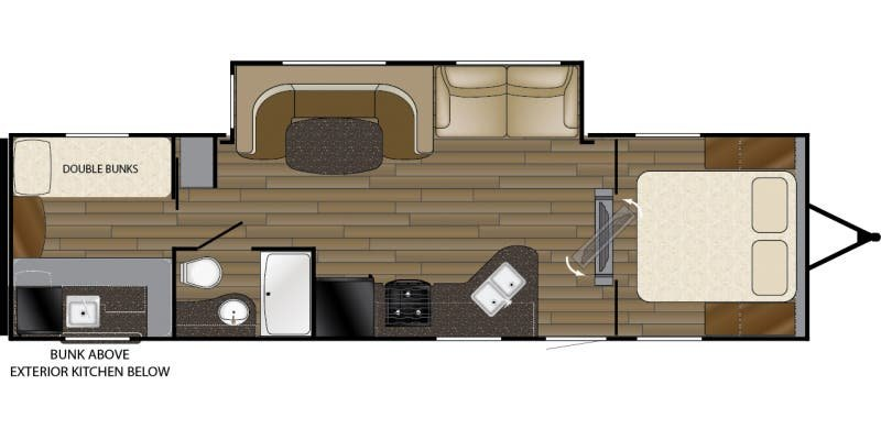 2017 HEARTLAND Trail Runner 30 ODK - Bunk House Floorplan