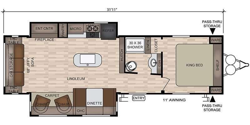 2019 FOREST RIVER EAST TO WEST DELLA TERRA COLLECTION 29 K2S Floorplan