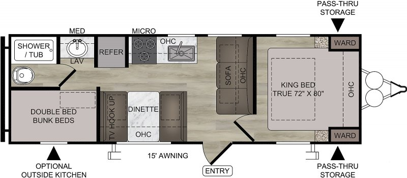 2021 FOREST RIVER EAST TO WEST DELLA TERRA COLLECTION 250 BH Floorplan