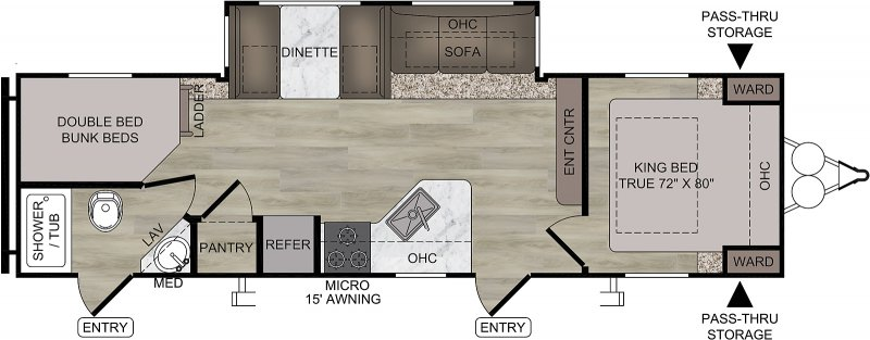 2021 FOREST RIVER EAST TO WEST DELLA TERRA COLLECTION 271 BH Floorplan