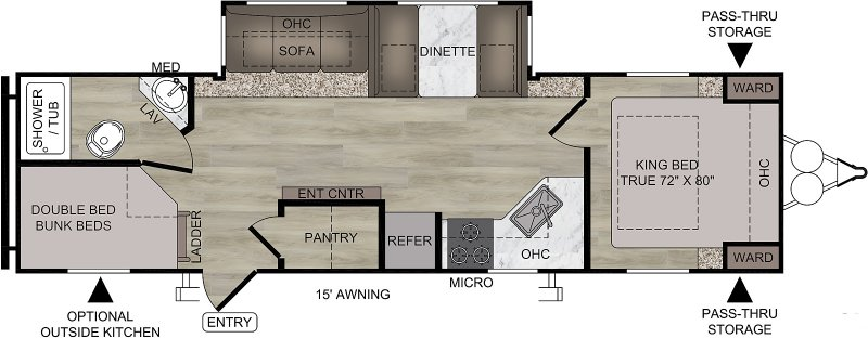 2021 FOREST RIVER EAST TO WEST DELLA TERRA COLLECTION 281 BH Floorplan