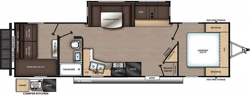 2022 COACHMEN Catalina Legacy 303QBCK Floorplan